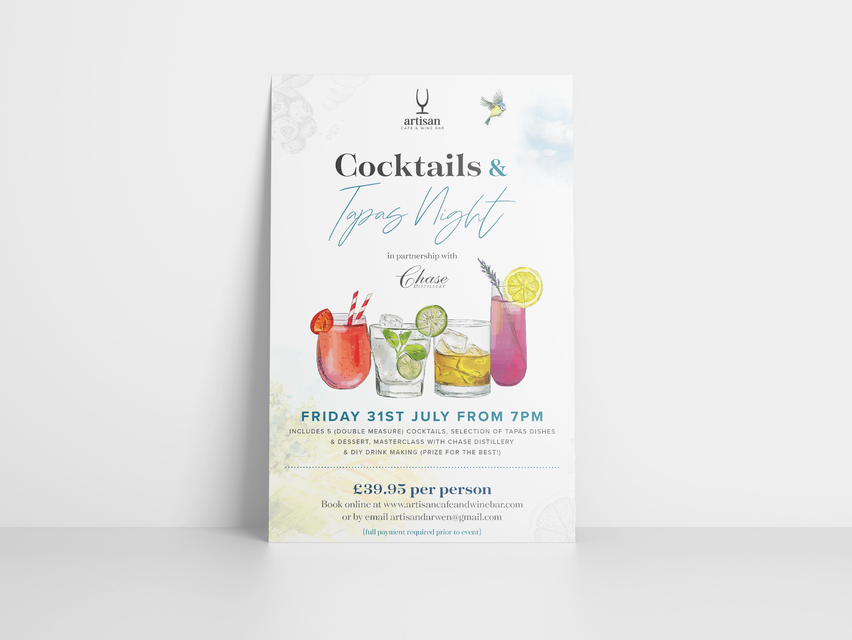 Cocktail & Tapas Night Event Poster Design for Artisan Bar, Darwen Lancashire