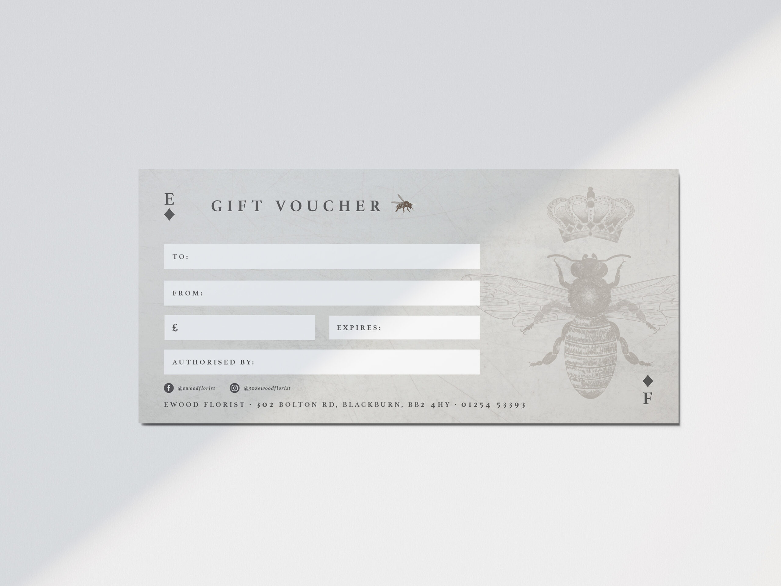 Ewood Florist Blackburn, Gift Voucher design by Very Vivid, Graphic Designer Blackburn