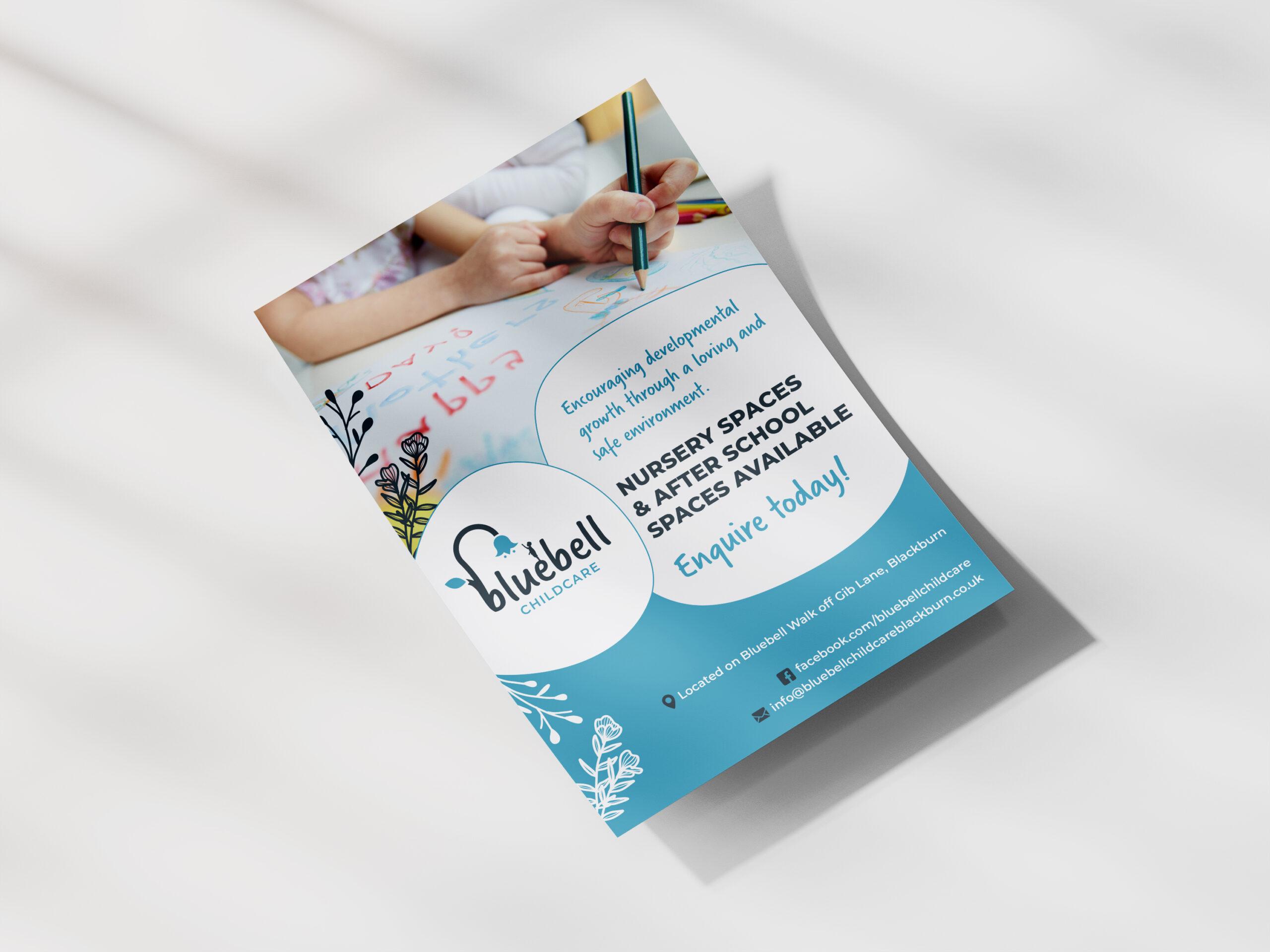 Bluebell Childcare leaflet design by Very Vivid Graphic Designer.