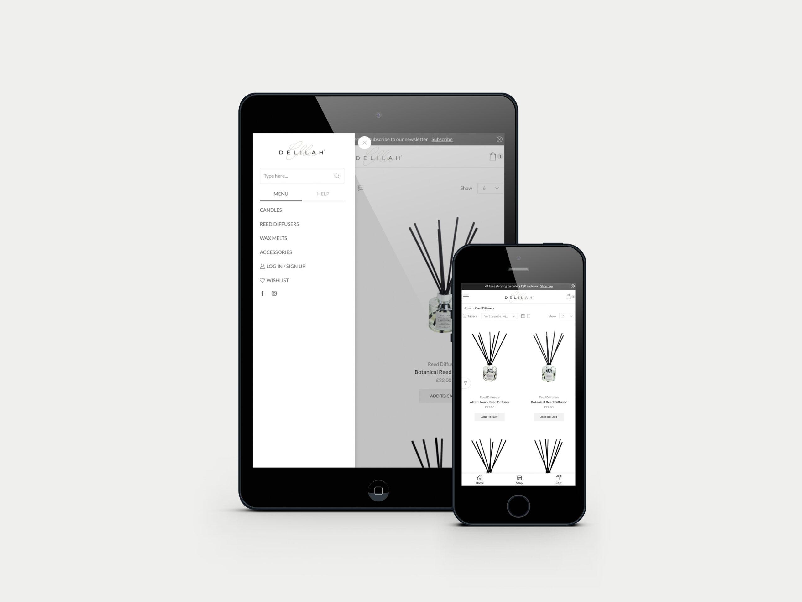 Responsive eCommerce website design and development for Delilah Chloe Luxury Home Fragrance