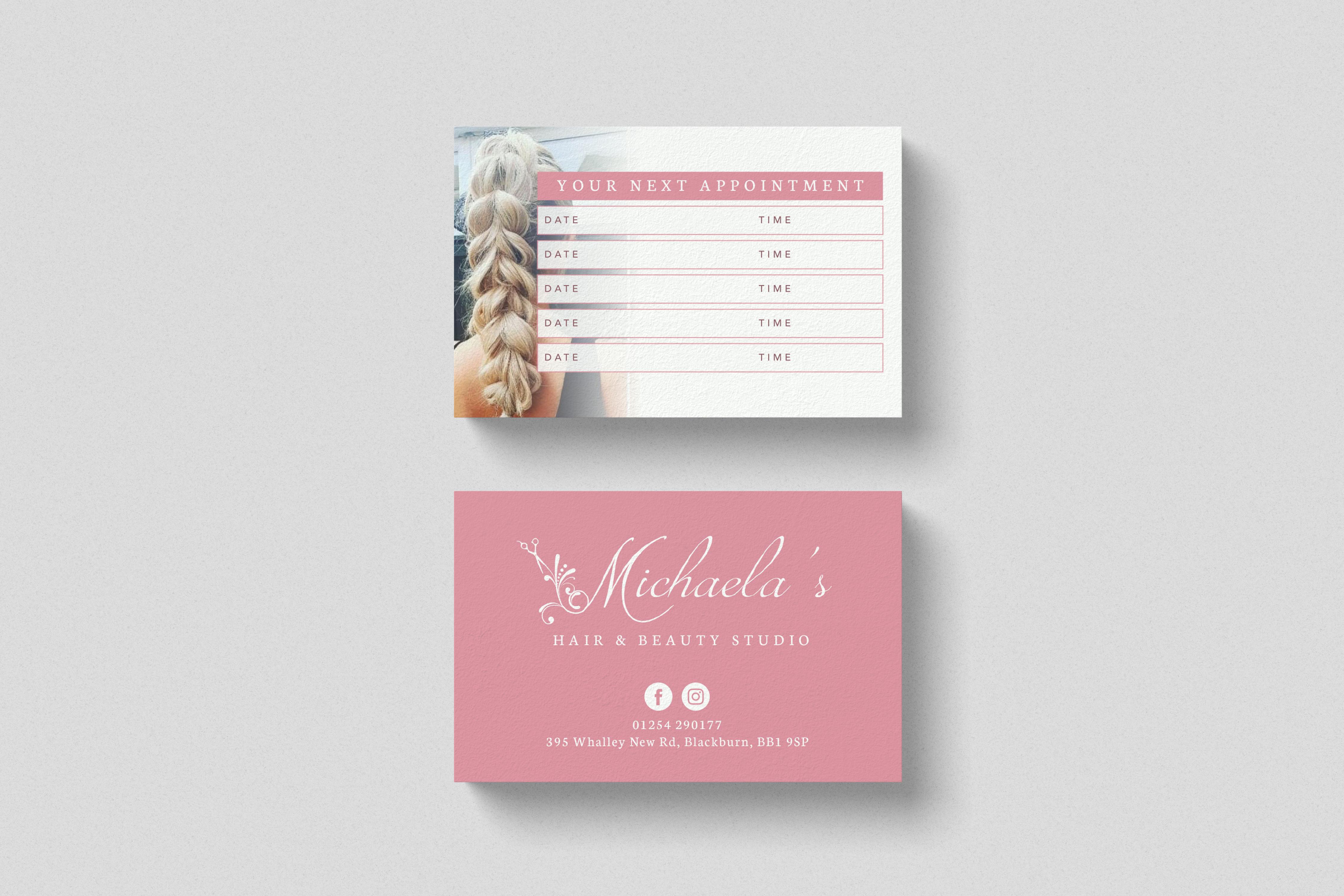 Business Card design for Michaela's Hair Studio, Blackburn