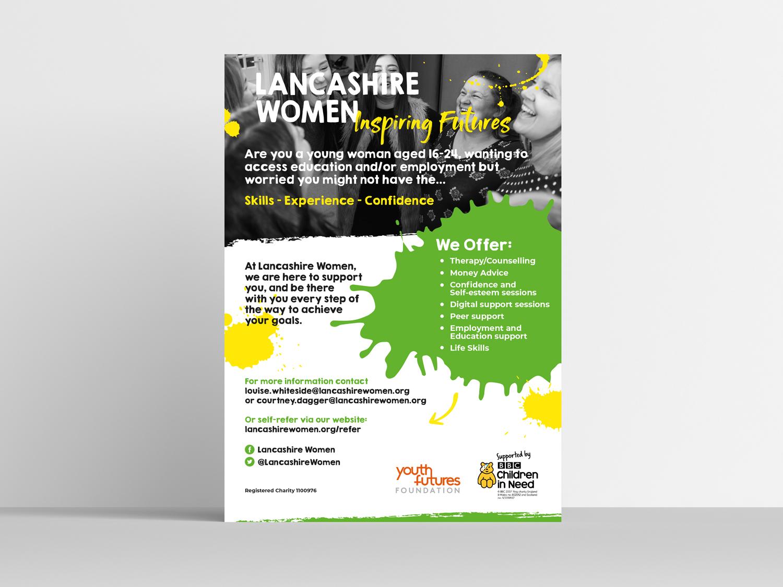 Poster Design for Lancashire Women Charity. Graphic Design services Blackburn Lancashire,