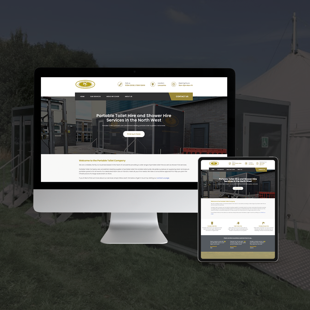 Website Development for Portable Toilet Company. Website Design and Development Blackburn Lancashire