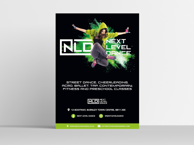 Poster Design for Next Level Dance. Graphic Design services Blackburn