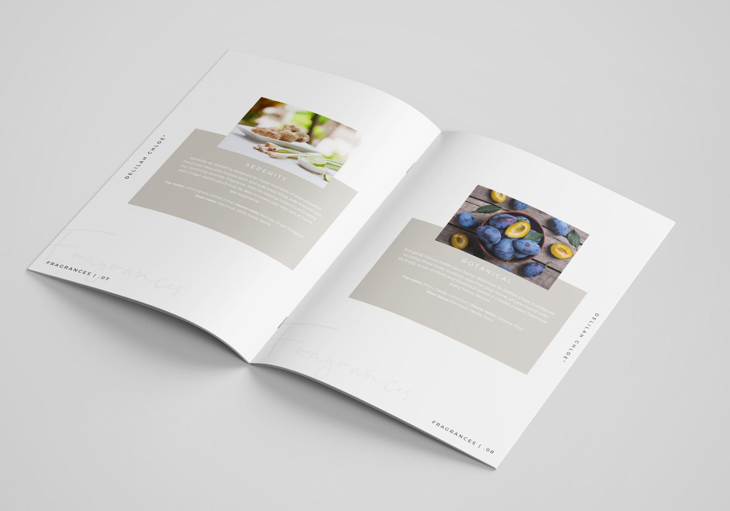 Elegant Brochure Design for Delilah Chloe Home Fragrance. Graphic Design Services Blackburn